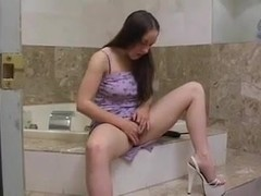 juvenile hairy girl receives not her dad on toilet