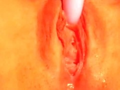 There is a flood cumming out of this red vagina