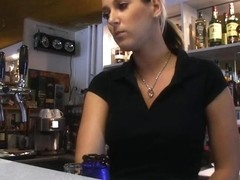 Large tit bartender blows at work for specie