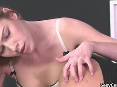 Lesbian having orgasm tied to bed