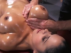 Young brunette girl with tight and very big boobs Diamond Kitty being oiled up and fucked in ass b.