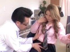 Chubby Japanese gets some action during her Gyno exam