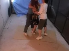 Sharking video with japanese broad screwed by two hammers