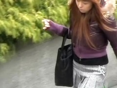 Vocal long-legged Japanese babe gets on the ground during sharking action