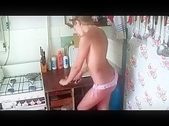 Russian teen kitchen masturbation