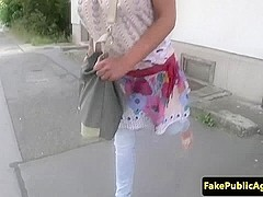 Busty euro pulled and pussyfucked outdoors