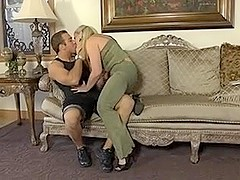 mature chubby woman banged on a sofa