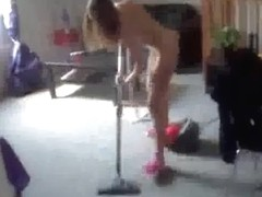 Homemade clip showing my naked girlfriend vacuum cleaning