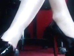 Marion's pantyhosed feet in heels