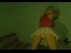 Blonde teen strips for the camera