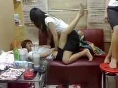 4 asian girls fool around and dryhump eachother