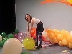 Balloons blow to pop
