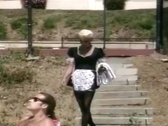 Horny Blonde Maid Helps These Suntanning Dudes Oil Up