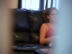Voyeur sneakily tapes the neighbor girl playing with herself on the sofa