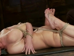 Big titted girl next door, severely bound, elbows together, made to cumSkull fucked and abused.