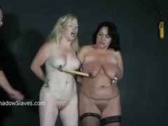 Two amateur ###s nipples clamped and tormented to tears in hard double domination bdsm session for.