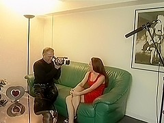 Sexy German babe strips and masturbates