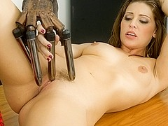 Gracie Glam in Gracie Plays With A Dong Fingered Glove
