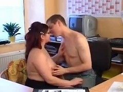 Chubby german redhead nailed in the office