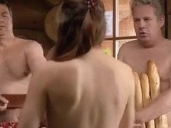 Nice scene from nudist movie with a soccer game