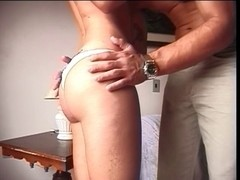Sexy mother getting wazoo waxed