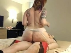 Curvy tattoed redhead webcam fucking video
