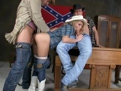 Pretty cowgirl Nataly Von has lusty threesome