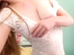 Redhead shows off her hairy muff