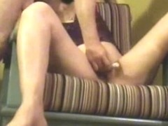 Brunette mature bitch filmed sucking cock while being toyed