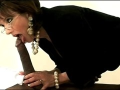 White mother I'd like to fuck Gives A Hand To A Large Darksome Dick!!!!!!!