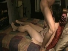 Mistress with BBC with cuckold locked in chastity cleanup