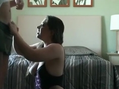 Big boobed brunette has oral and doggystyle sex in the bedroom