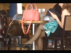 Candid Asians Sexy Shoeplay Feet in Nylons at Airport