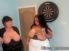 3 large boobed hotties engulf on a penis