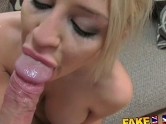 FakeAgentUK Beautiful blonde gives amazing blowjob