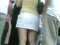 A people gathering underskirt candid voyeur spy video