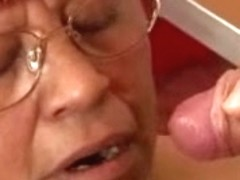 Short Hared Granny Acquires Jizzed On Her Glasses