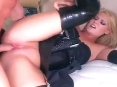 Golden-Haired female cop fucking in gloves and nylons