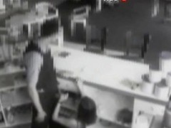 Security cam footage of a sexy brunnette giving head in a store