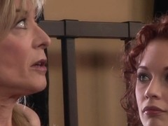 Blonde milf plays lesbian games with her hot girlfriend