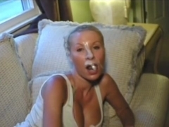 Buxom blond receives blasted with a dirty facial.