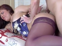 Russian woman gets fucked in the asshole