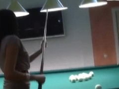 Malika plays dangerous pool game without panties
