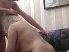 Russian mature plumper fucked by two younger guys