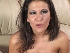 Hot whore with huge milk sacks rubs on her muff on the bed
