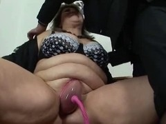 big beautiful woman aged receives her wet crack pumped