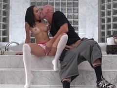 Dillion Harper spins around Johnny Sins' cucumber