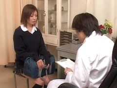 Short haired asian broad gets her pussy examined in sex film