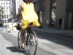 Accidental nudity on a bicycle