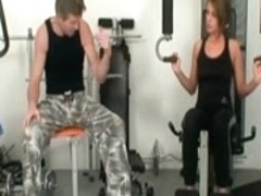 Legal Age Teenager makes old chap cums twice in the gym
